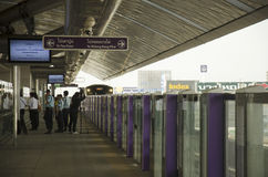 Thai people journey and wait MRT Purple Line skytrain go to Bang Stock Photos