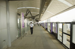 Thai people journey and wait MRT Purple Line skytrain go to Bang Stock Images