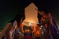 Launching sky lanterns Stock Image