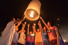 Launching sky lanterns Royalty Free Stock Photo