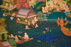 Thai people Living with water. Mural painting of Thai old lifestyle 300 years ago. People are living with water Stock Photography