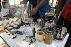 Thai people made hot coffee for show and sale for travellers people. At cafe shop in organic street market on January 29, 2017 in Nakhon Ratchasima, Thailand Stock Images
