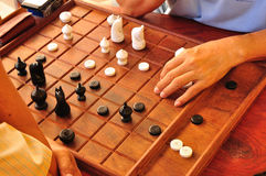 Thai People or Men Playing Thai chess Royalty Free Stock Photo