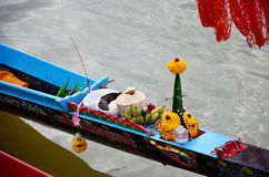 Thai people offerings dedicated or sacrifices for boat nymph or guardian goddess of boats Royalty Free Stock Image