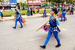 Thai people on the parade in Chiangmai Flower Festival 2013. Stock Photography