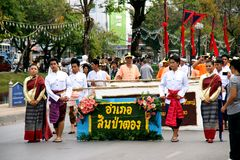 Thai people on the parade in ChiangMai Flower Festival 2013 Stock Image