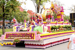 Thai people on the parade in ChiangMai Flower Festival 2013 Royalty Free Stock Image