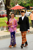 Thai people on the parade in ChiangMai Flower Festival 2013 Royalty Free Stock Photography