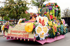 Thai people on the parade in Chiangmai Flower Festival 2013 Royalty Free Stock Photo