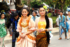 Thai people on the parade in Chiangmai Flower Festival 2013 Stock Photo