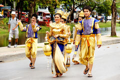 Thai people on the parade in Chiangmai Flower Festival 2013 Royalty Free Stock Images