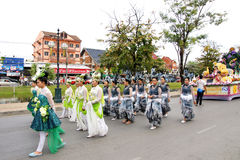 Thai people on the parade in Chiangmai Flower Festival 2013 Stock Images