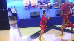 Thai people playing big puppets shadow thai called Nang Yai of Wat Khanon stock video footage