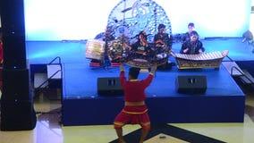 Thai people playing big puppets shadow thai called Nang Yai of Wat Khanon stock video