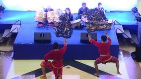 Thai people playing big puppets shadow thai called Nang Yai of Wat Khanon stock footage
