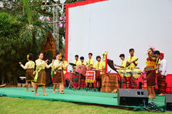 Thai people playing the northeast Thai traditional music called The pong lang. Show for traveller at Wat Khanon on April 14, 2015 in Ratchaburi Thailand. The stock photo