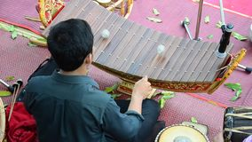 Thai people playing the ranat ek is a Thai musical instrument stock video footage