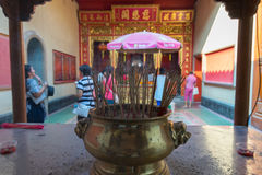 Thai people pray in Chinese temple Stock Images