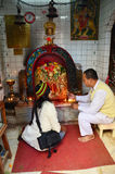 Thai people pray with Kali Hindu goddess statue in god house at Thamel  Royalty Free Stock Images