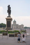 Thai people pray King Chulalongkorn (Rama V) statue. BANGKOK, THAILAND - OCTOBER17, 2015: Unidentified Thai people pray The equestrian statue of King Stock Photo