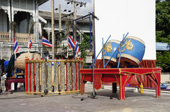 Thai people preparing stage for play thai musical instruments co Royalty Free Stock Photos