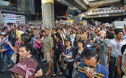 Thai people protest against corruption of the Thaksin government at Central Siam area Royalty Free Stock Photos