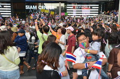 Thai people protest against corruption of the Thaksin government at Central Siam area Royalty Free Stock Photo