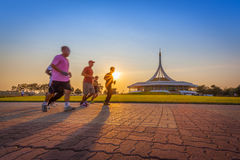 Thai people always running for exercise Royalty Free Stock Photo