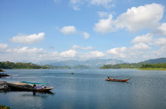 Thai people sail long tail boat serviced for send and receive in Stock Image