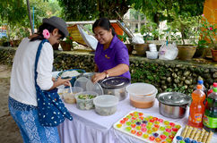Thai people serve Kanom Jeen Nam Ya or Rice noodles in fish curr Royalty Free Stock Image