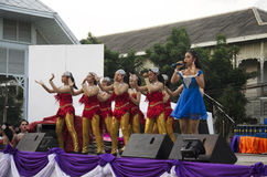 Thai people sing folk song and country music with dance local th Stock Photography