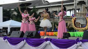Thai people sing folk song and country music with dance local thai style stock video footage