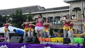 Thai people sing folk song and country music with dance local thai style stock video