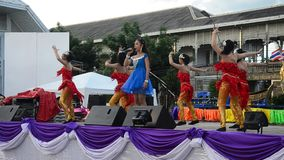 Thai people sing folk song and country music with dance local thai style stock footage