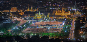 Thai people sing a song with candle foe the King Bhumibol adulya. Dej in sanam luang on 22Oct. die, dead,grand palace,wat phra kaew, pass away Royalty Free Stock Images