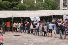 Thai people stand in row for Pre-election at Khonkaen, Thailand stock photography