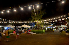 Thai people travel and shopping at market fair in night time Royalty Free Stock Photography