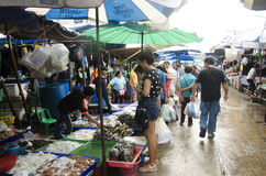 Thai people and travellers buy seafood from vendors seafood shop Royalty Free Stock Image
