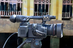 Thai people use Digital Camcorder Video for broadcast live Royalty Free Stock Photo