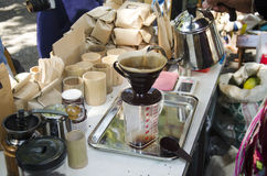 Thai people use drip coffee maker or dripper made hot coffee for Royalty Free Stock Photography