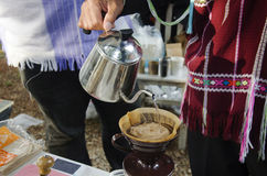 Thai people use drip coffee maker or dripper made hot coffee Royalty Free Stock Image