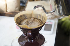 Thai people use drip coffee maker or dripper made hot coffee for Royalty Free Stock Images