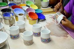 Thai people woking process paint Ceramic Benjarong is traditiona Stock Photos
