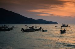 Thai Phuket Sea Boat. Evening Royalty Free Stock Images