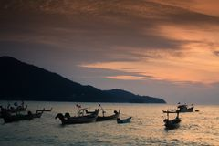 Thai Phuket Sea Boat. Sunset over the Thai boat in Phuket Thailand Stock Photos