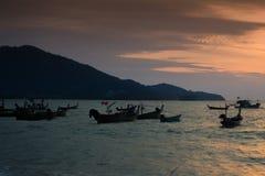 Thai Phuket Sea Boat. Sunset over the Thai boat in Phuket Thailand stock images