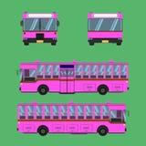 Thai pink bus transport car vehicle driver fare passenger autobus omnibus coach rail bench chair stool armchair seat mattress. Thai pink bus transport car stock illustration