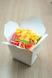 Thai pink noodles in box. Stock Image