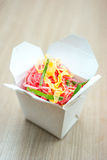 Thai pink noodles in box. Royalty Free Stock Photography