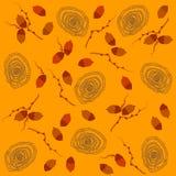 Thai plants orange background. Vector pattern with elements of Thai plants. Orange background Vector Illustration